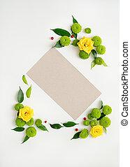 chamomile, frame, krans, chrysant, flowers., papier, rozen