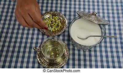 chamomile herb cup sugar
