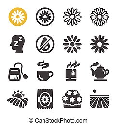 chamomile flower icon set, vector and illustration