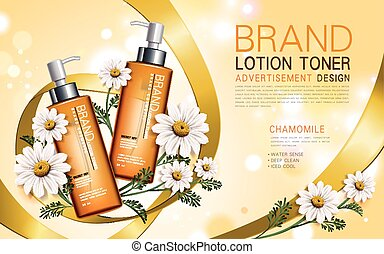chamomile lotion toner contained in a bottle with flower and...