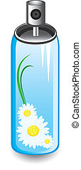 Chamomile spray - chamomile spray. Illustration on white...