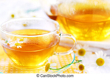 Chamomile tea - A teacup and a teapot with herbal camomile...