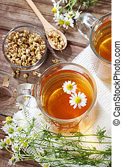 Chamomile Tea  - Dried and fresh and brewed Chamomile Tea
