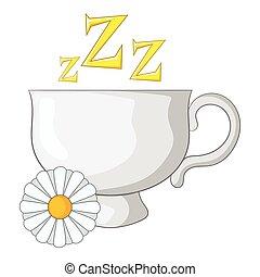 Chamomile tea icon, cartoon style
