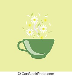 Chamomile Tea In Green Cup
