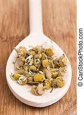 Chamomile tea on a wooden kitchen spoon