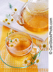 Chamomile tea - Teacup and teapot with soothing chamomile...