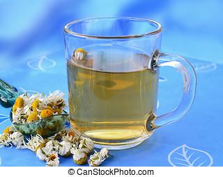 Chamomile tea with dried chamomile flowers