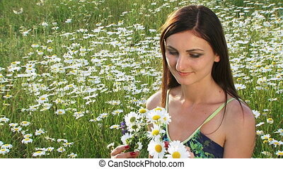 Chamomile wreath - Woman wearing a wreath made of chamomiles