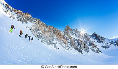 chamonix, berg, 2016:, höchsten, märz, gletscher, -, massiv,...