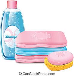 champú, toalla, jabón