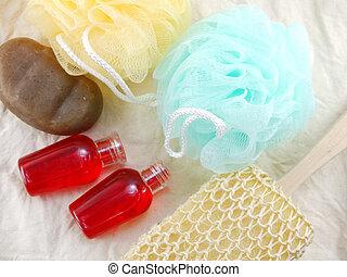 champú, y, líquido, ducha, gel, con, baño, soplo, y, loofah, balneario, kit, punta la vista