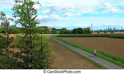 champ, équitation vélo