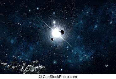 champ, étoile, espace, fond