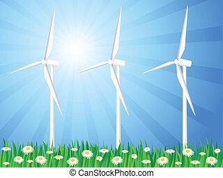 champ, 2, générateurs, herbeux, vent