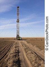 champ, agriculteurs, fracking, derrick