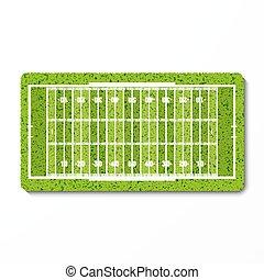 champ, américain, herbe, football vert