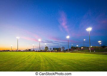 champ, base-ball, coucher soleil