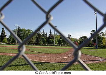 champ base-ball, encadrement, barrière