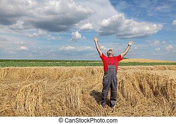 champ, blé, agriculture, geste, paysan