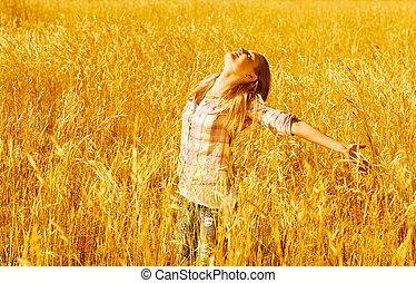 champ, blé, femme