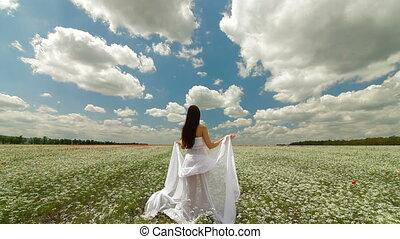 champ, blanc, femme, écharpe