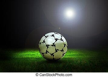 champ, boule football, lumière stade