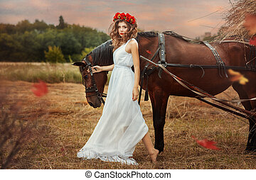 champ, cheval, fall., girl, promenades