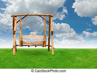 champ ciel, bois, balançoire, chaise, herbe, nuage