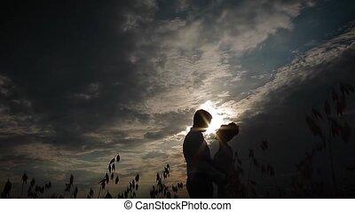champ, couple, baisers, coucher soleil