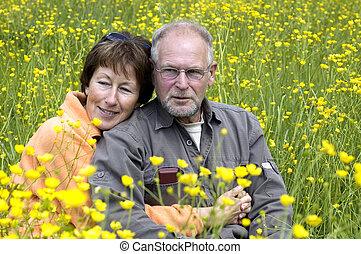 champ, couple, renoncule, personne agee