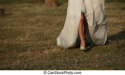 champ, courant, travers, mariée