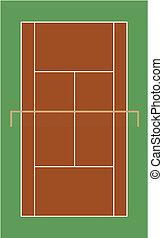 champ, court tennis, argile