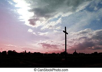 champ, croix