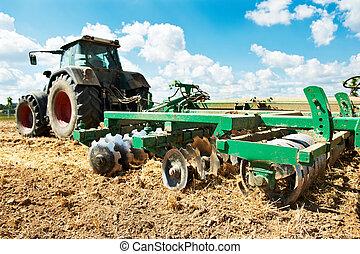 champ, culture, travail, tracteur, labourage