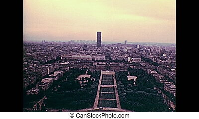 Champ de Mars 1970s panorama - Paris Eiffel Tower aerial...