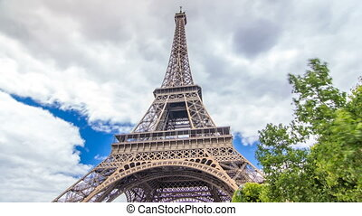 Champ de Mars and the Eiffel Tower timelapse hyperlapse in a...