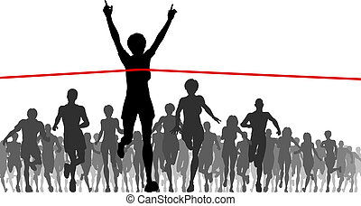 Editable vector illustration of a woman winning a race