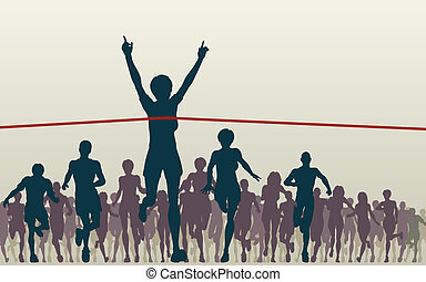 Champ - Editable vector illustration of a woman winning a...
