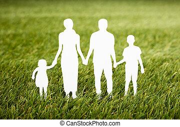 champ, famille, papercut, herbeux