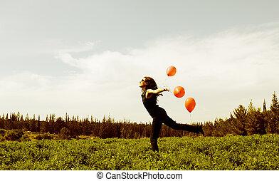 champ, femme, ballons, jeune, rouges
