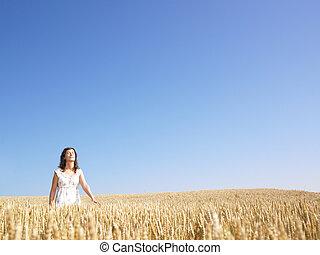 champ, femme, blé