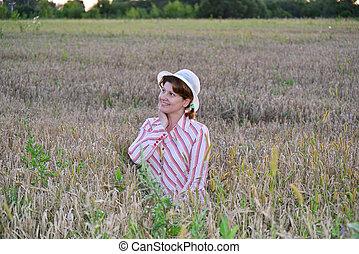 champ, femme, blé, songeur
