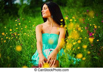 champ, femme, fleur, été