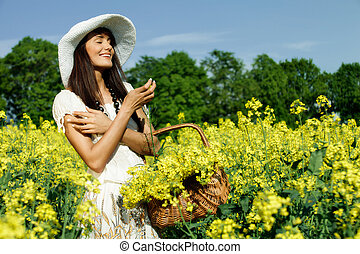 champ, femme, jeune, jaune, colza