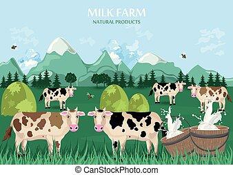 champ, ferme, concept., arrière-plan., vecteur, vert, vaches, lait