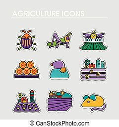 champ ferme, icon., agriculture, signe