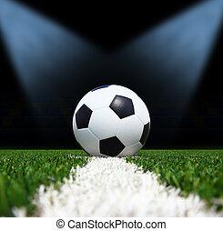 champ, football, balle, vert