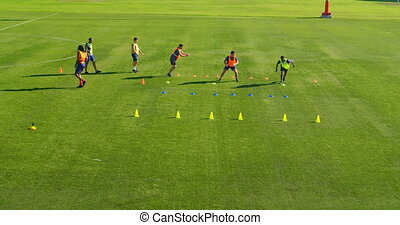 champ, football, exercisme, 4k, joueurs