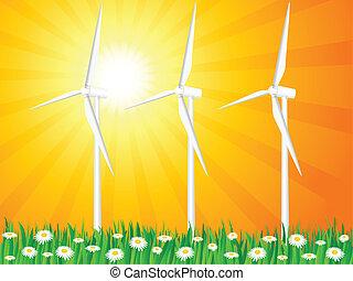 champ, générateurs, herbeux, vent
